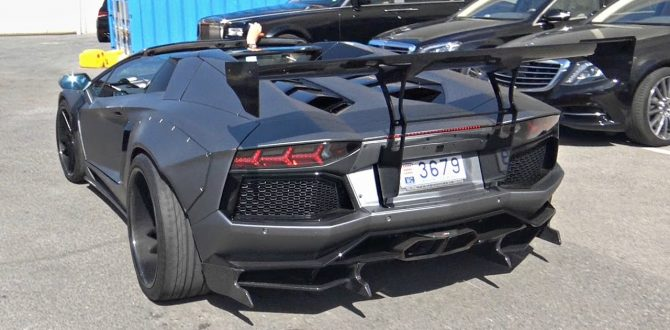 Liberty Walk Lamborghini Aventador Roadster Widebody with Akrapovic Exhaust LOUD Sounds!