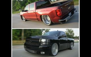 Bagged 2014 Chevy Silverado & 2012 Single Cab Silverado on big lip intros cruise houston Texas!