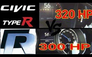 new honda civic type r 320hp vs vw golf r 300hp 0-250 km/h