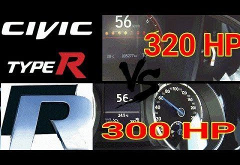 new honda civic type r 320hp vs vw golf r 300hp 0-250 km/h