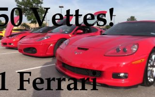 50 Corvettes and 1 Ferrari, plus I got cut off again!