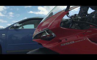 Ducati 959 Panigale vs Audi S4 | bike vs car sprintrace & short impression