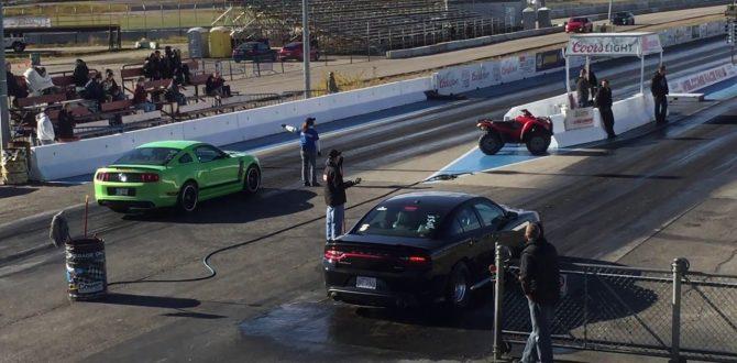 Hellcat vs Mustang Drag Race Edmonton Castrol Raceway