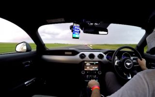 Mustang GT chasing BMW M2 at Bedford Autodrome South West