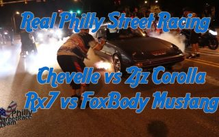 Real Philly Street Racing - Chevelle vs 2jz Corolla - Mustang vs Rx7