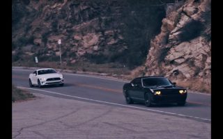 Hellcat and Mustang ripping through canyons